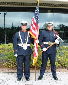 Two guards with one flag