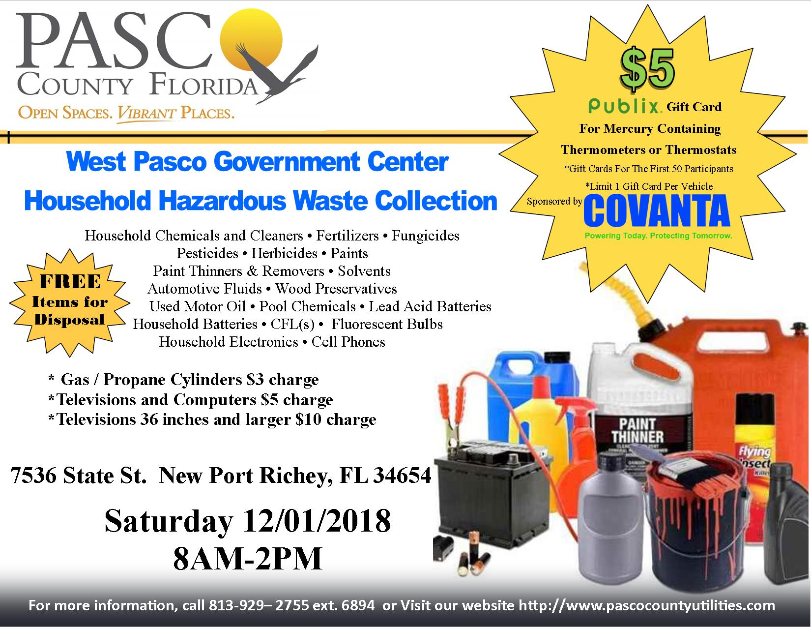 Household Hazardous Waste Pasco County Fl Official Website