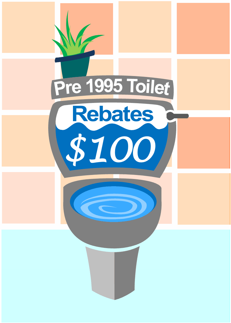 Graphic of a toilet with the words Pre 1995 Toilet. Rebates. $100.