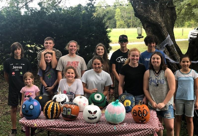 4H Club Members with Decorated Pumpkins in Fall 2019