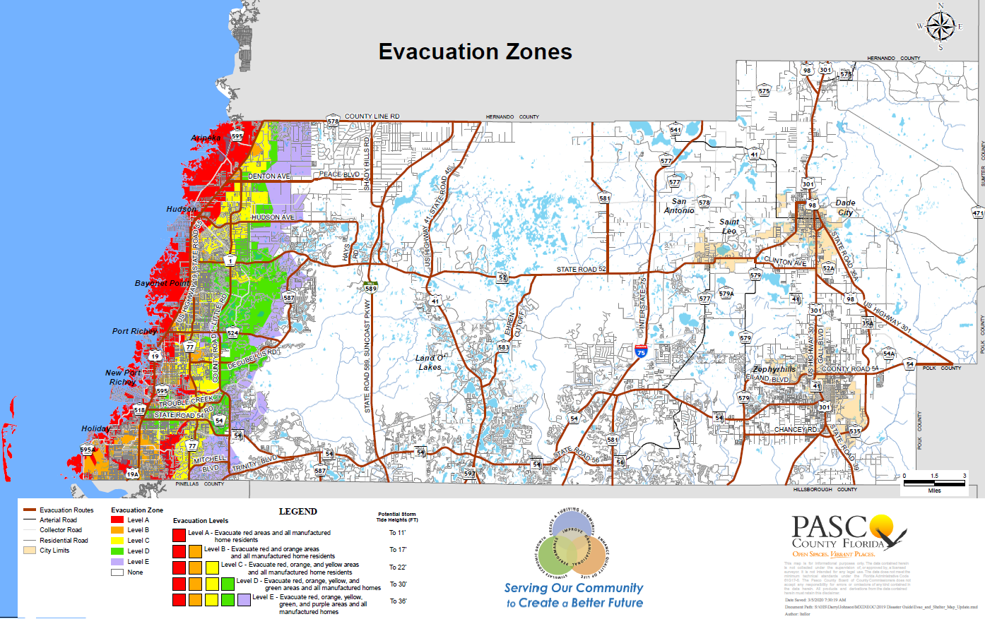 Map Of Pasco County Florida Evacuation Zones | Pasco County, FL   Official Website