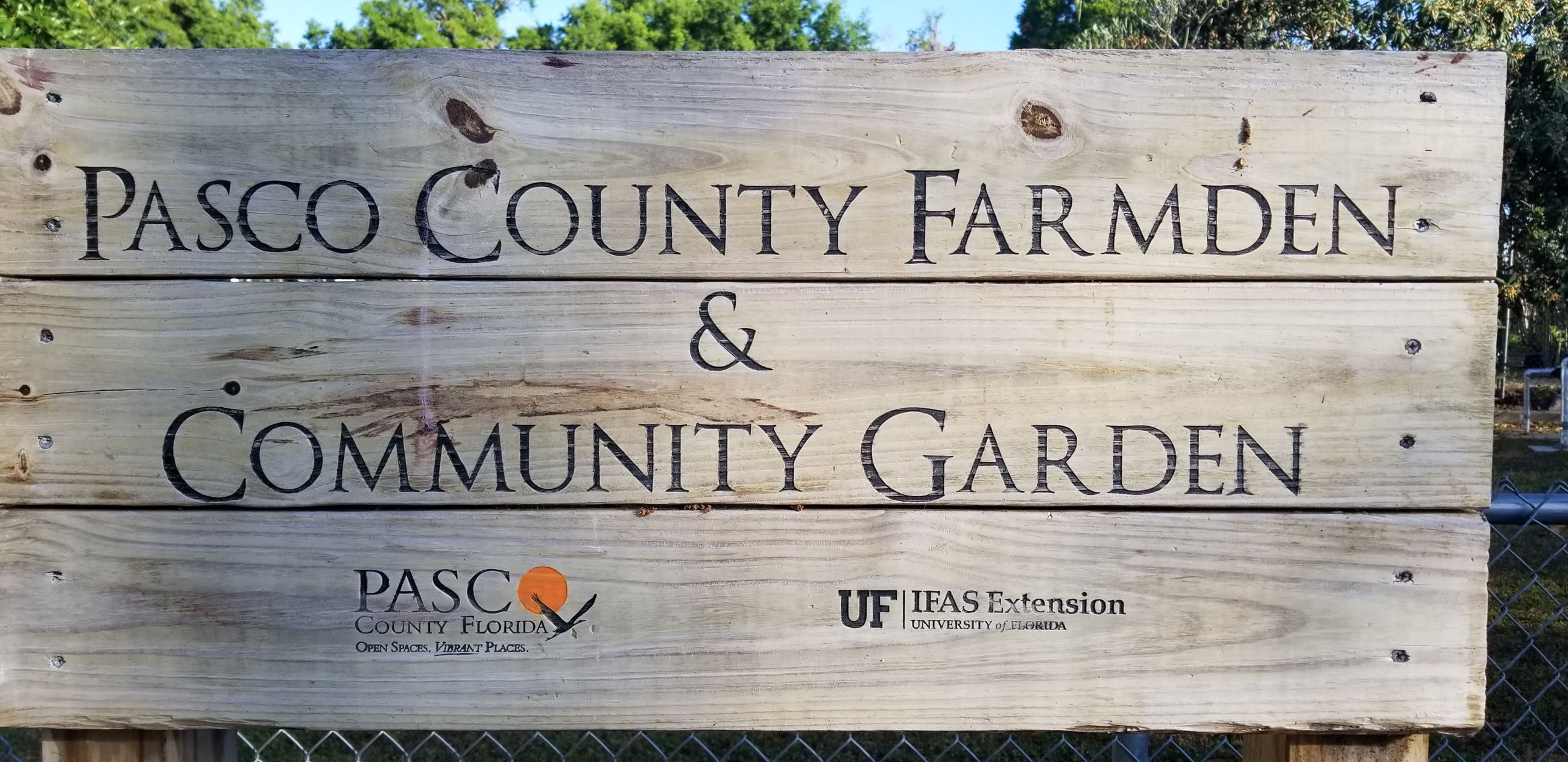 Pasco County Farmden Wooden Sign