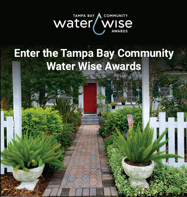 Tampa Bay Community Water Wise Awards logo and beautifully landscaped front of house