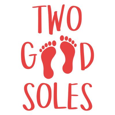 two good soles logo with red footprints