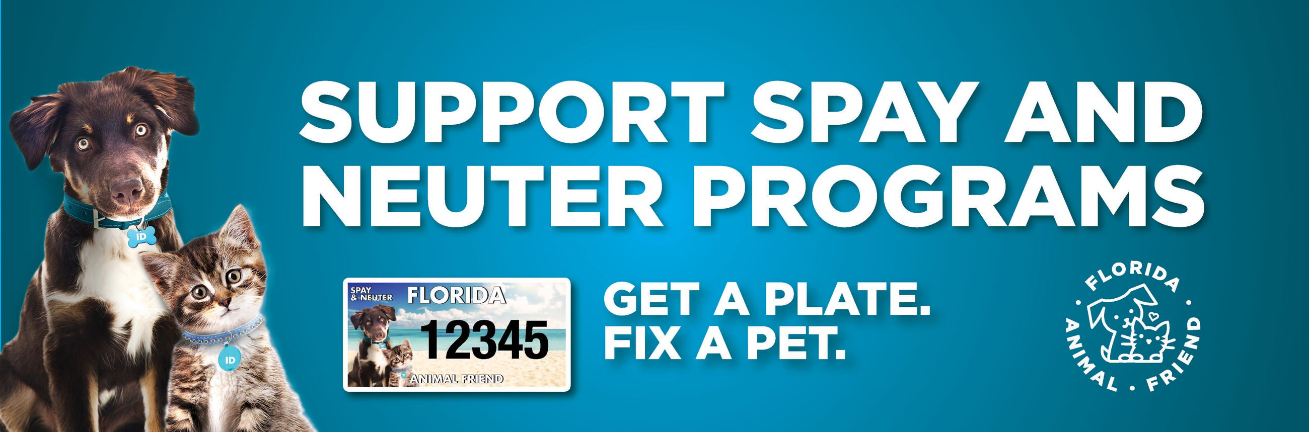 Florida Animal Friends License Plate Banner