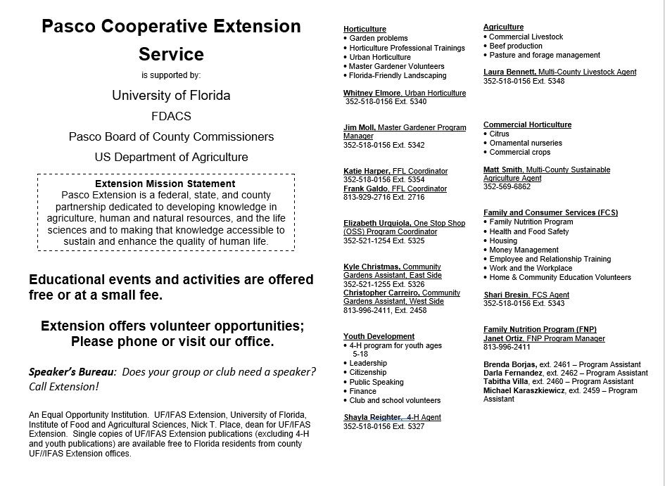 UF IFAS Pasco Extension Welcome Brochure Back Page