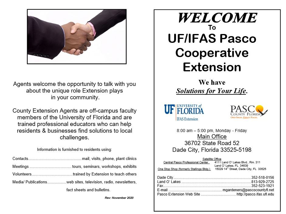 UF IFAS Pasco Extension Welcome Brochure Front Page