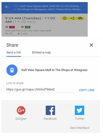 Google Maps tool to sharing, print or send to phone option