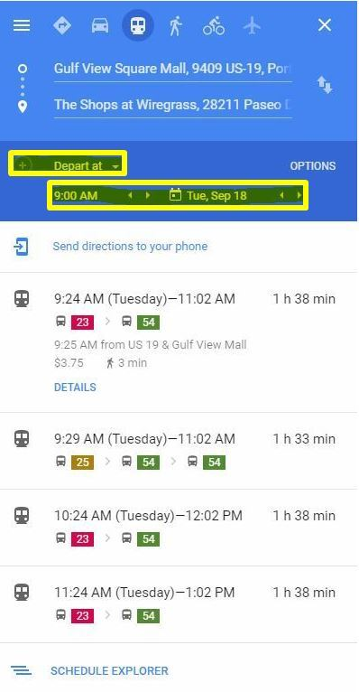 schedule depart time in Google Maps image