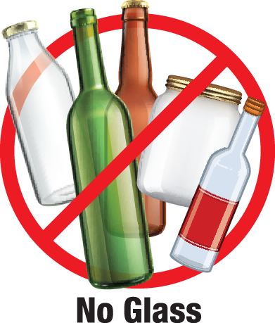 Glass is not allowed in recycling