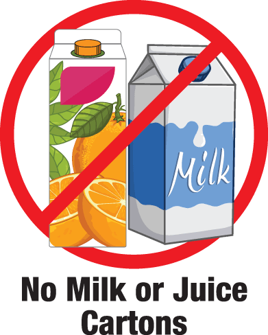 Milk or Juice Cartons are not allowed in recycling