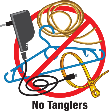Clothes hangers, wires, or other tanglers are not allowed in recycling