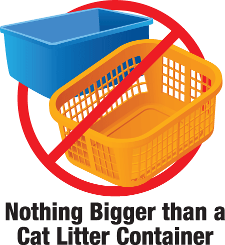 No items Bigger than Cat Litter container icon