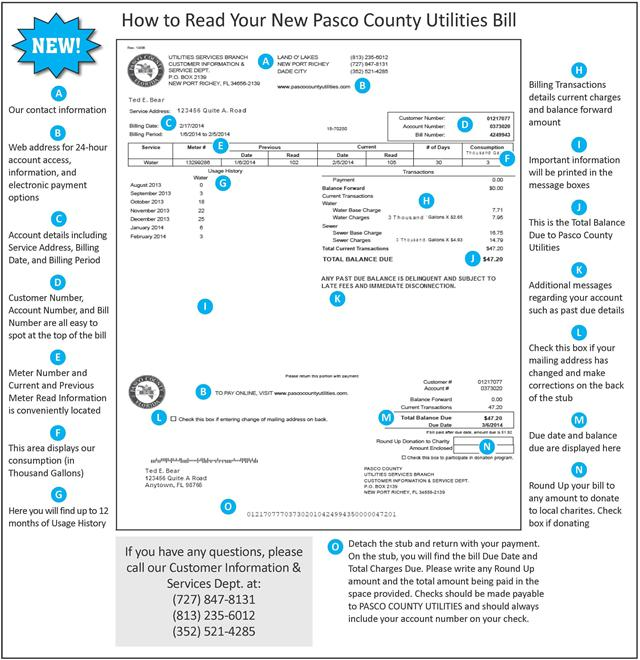 How to Read Your New Pasco County Utilities Bill