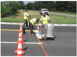 Crew Applying a Road Stripe
