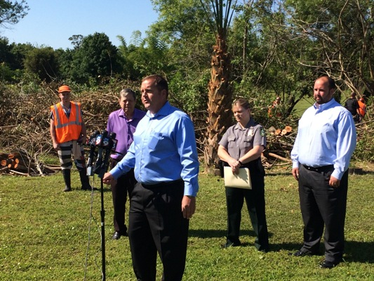 Commissioner Mike Wells speaking with reporters about utilizing inmates to help with clearing brush from stormwater drainage systems (May 9, 2016)