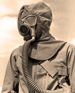Photo fo Hazmat Tech in full suit circa 1940s Source unknown